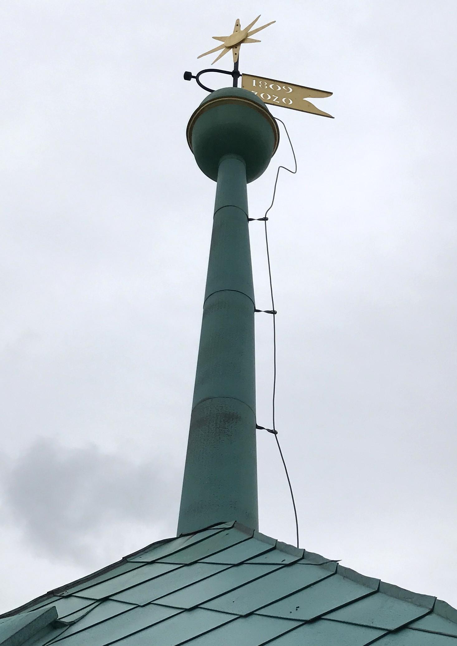 10.Kula,gwiazda i chorągiewka na szczyciewieży