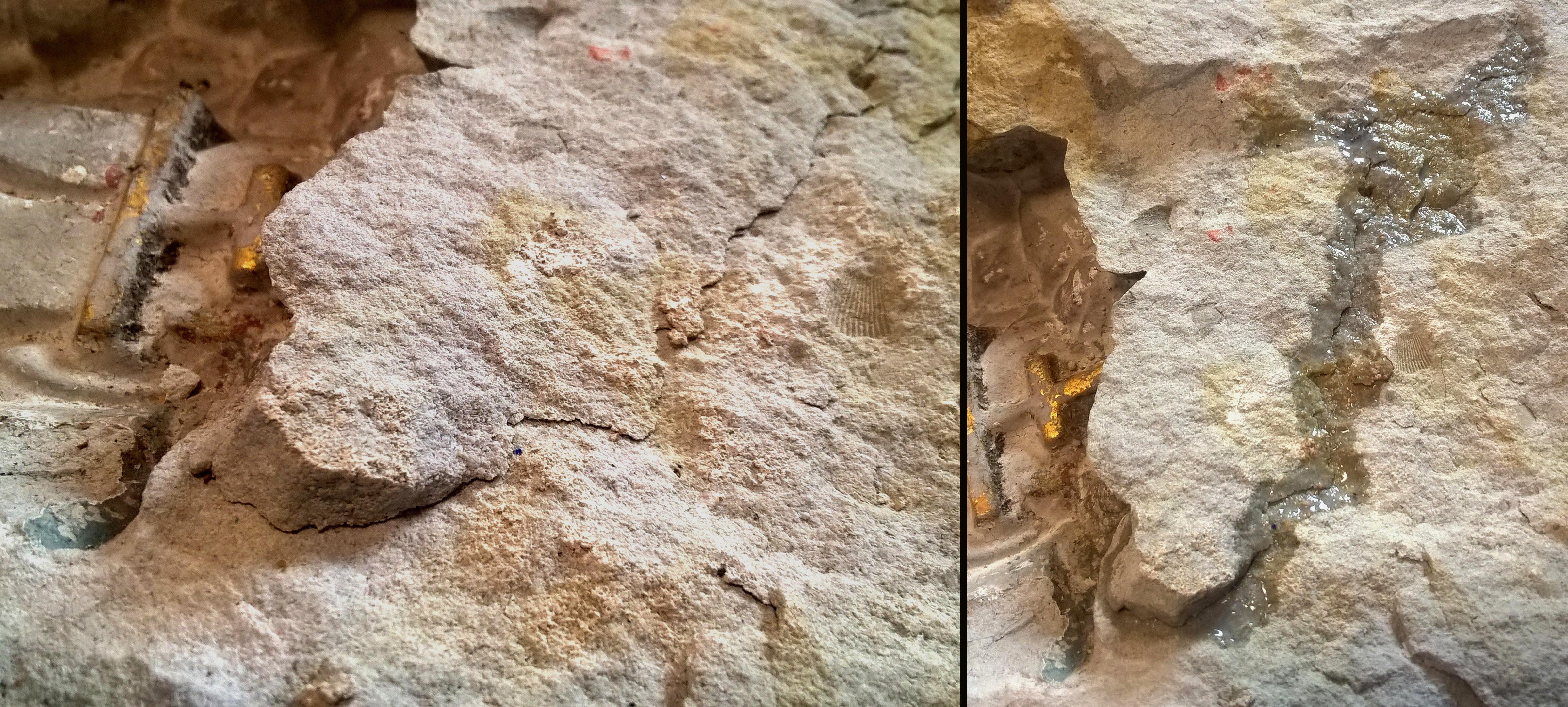 11.Pł.duża fr. pęknięcia skały przed i po iniekcji